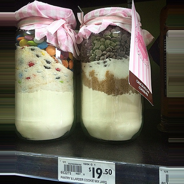 Wow. $20.00 for a jar containing pre-measured cookie mix. Maybe I should go into business! Seen at Clayfield markets.