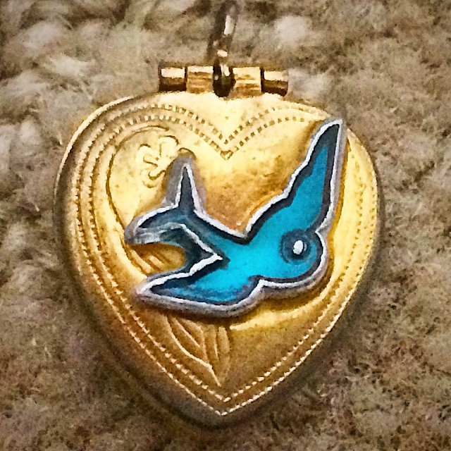 Found: my 13th birthday gift from my parents. It was the era of the bluebird, and I had matching earrings. No idea where they went :(