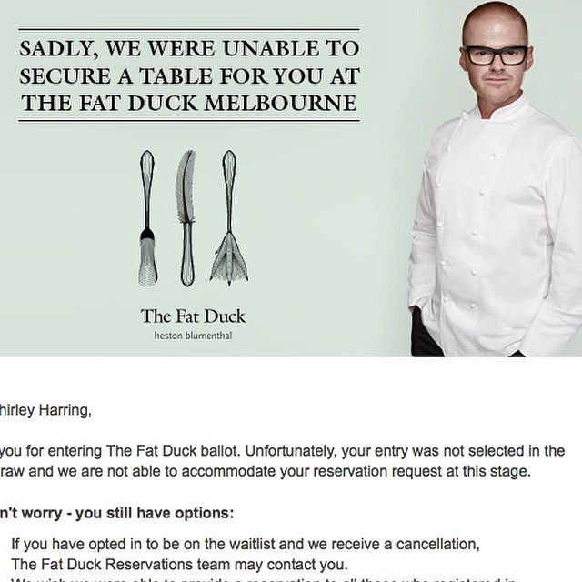 Fat Duck Fail. Who got in? #FatDuckMelbourne