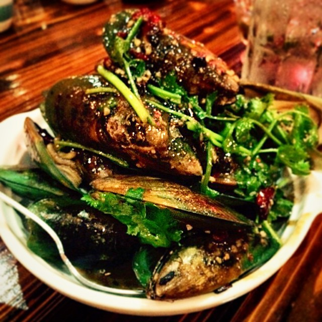 Biggest mussels I've seen in an age. Sweet, salty, tangy and s good hit of chilli.