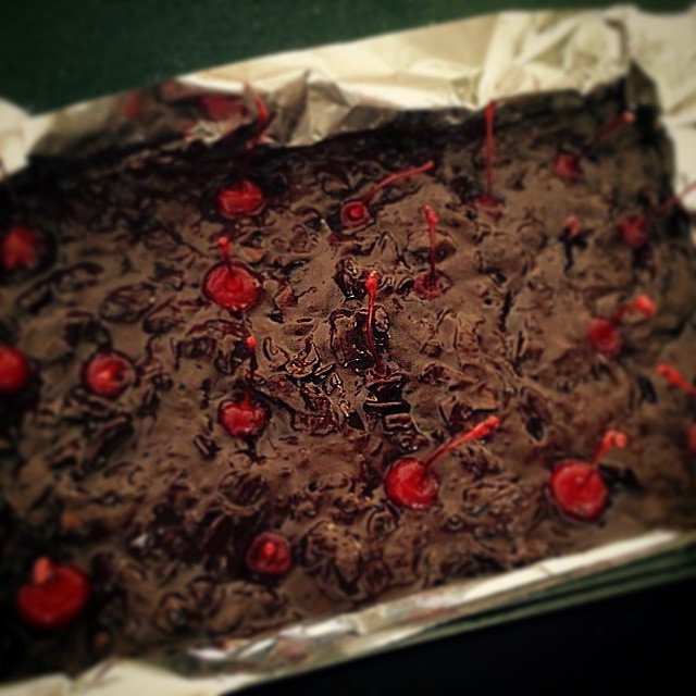 A spin on @danivalent's  chilli choc cherry ripe with added maraschino cherries and amaretto. #Thermomix